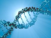 DNA chain. Abstract scientific background. Beautiful illustraion. Biotechnology, biochemistry, genetics and medicine concept .3D rendering poster
