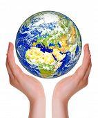 Earth protect on human hand poster