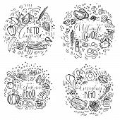 Keto Challenge, Ultimate Guide, Ketogenic Food, Everyday Keto - black and white vector sketch illustration concept. Healthy keto food with texture and decorative elements in four circles - all nutrients and food icons, like vegetables, meat, fish, sea foo poster
