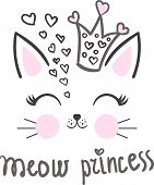 Meow. Princess. Cartoon, cute cat wearing a princess crown with hearts. For design prints, poster and so on. Vector poster