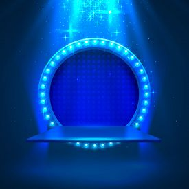 Stage Podium With Lighting, Stage Podium Scene With For Award Ceremony On Blue Background. Vector Il