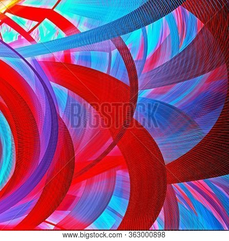 Bright Abstract Fractal Background Of Circles And Geometric Elements. Beautiful Abstract Fractal To
