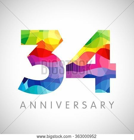 34 Th Anniversary Numbers. 34 Years Old Logotype. Bright Congrats. Isolated Abstract Graphic Web Des