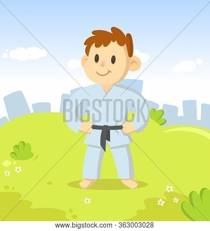 Kid In Karate Kimono Character Standing In The City Park. Sport And Fitness. Cartoon Vector Flat Ill