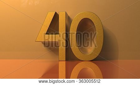 40 Golden Numbers, Yellow Volume Gold, Party, Birthday, Celebrate Anniversary and Wedding Text, Gold Font, Realistic Design Elements, Festive Forty 3d rendering
