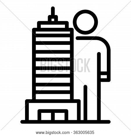 Tall Building And Man Icon. Outline Tall Building And Man Vector Icon For Web Design Isolated On Whi