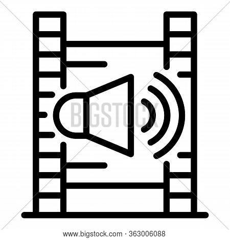 Film Strip And Speaker Icon. Outline Film Strip And Speaker Vector Icon For Web Design Isolated On W