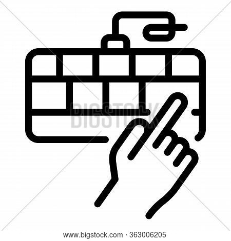 Hand And Keyboard Icon. Outline Hand And Keyboard Vector Icon For Web Design Isolated On White Backg