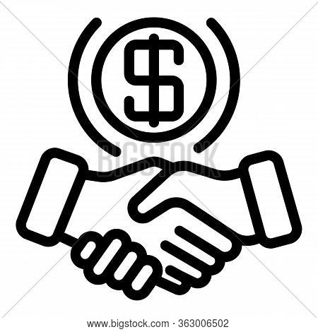 Dollar Sign Handshake Icon. Outline Dollar Sign Handshake Vector Icon For Web Design Isolated On Whi