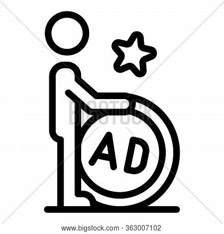 Man Rolling Ad Barrel Icon. Outline Man Rolling Ad Barrel Vector Icon For Web Design Isolated On Whi