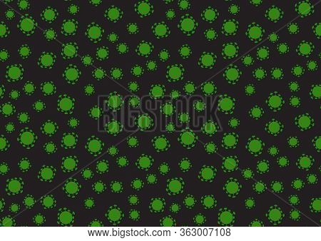 Abstract Scattered Coronavirus Cells Seamless Pattern. Virus Spreading Wallpaper Vector Illustration