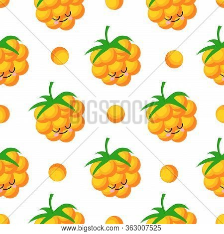 Cloudberry Yellow Berry. Berry Character On A White Background. Vector Illustration. Seamless Patter