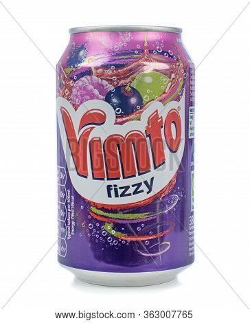 Niedersachsen, Germany April 23, 2020: A Can Of Vimto Fizzy Soda Soft Drink On A White Background