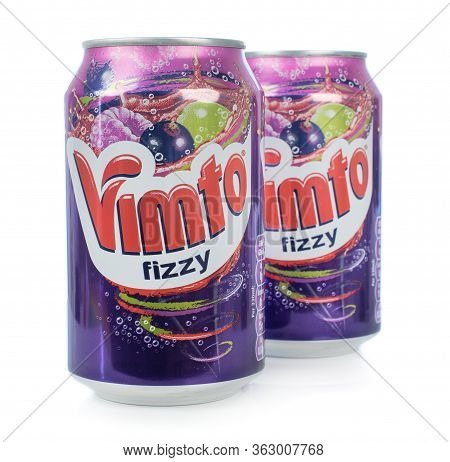 Niedersachsen, Germany April 23, 2020: Two Cans Of Vimto Fizzy Soda Soft Drink On A White Background