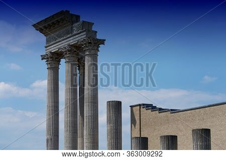 An Ancient Greek Temple From The 5th Century Bc. Chr., Agrigento, Sicily