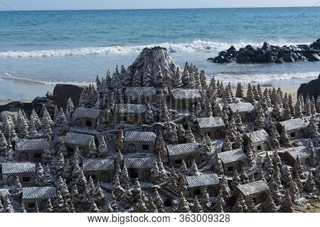 Christmas Village Of Sand On The Beach Of Cran Canaria In Meloneras