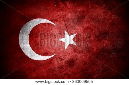 Closeup of grunge Turkish flag