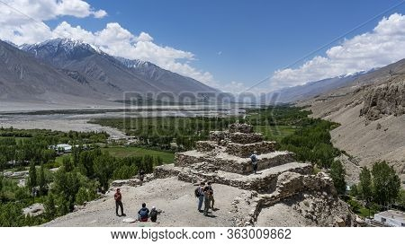 Vrang, Tajikistan - June 21, 2019: Buddust Stupa In Vrang In The Wakhan Corridor With The Panj River