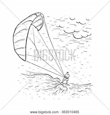 Kite Surfing. Sketch Vector Illustration With Hand Drawn Kite Surfer, Clouds, Wave. Water Sports. Fr