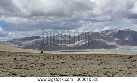 Karakul Lake, Tajikistan - June 27, 2019: Sheperd On Donkey In The Desert At Karakul Lake With A Vie