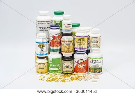 Fuji City, Shizuoka Prefecture, Japan - April 4, 2020: Colorful Packages Of Different Brands Of Nutr
