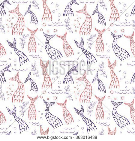 Seamless Pattern With Mermaid Tails. Childish Design. Vector Illustration. Mermaids, Fishes Tails Se
