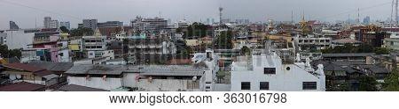 Bangkok, Thailand - March 2nd, 2020: A Panoramic Cityscape Of Bangkok, Thailand On A Hazy Day