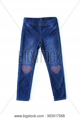 Blue Jeans Isolated Over White Background. Small Denim Child Clothes