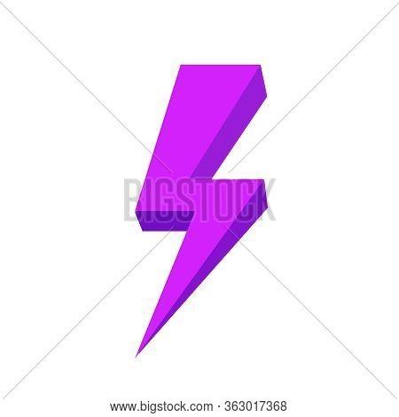 Purple Thunder Icon Isolated On White Background, Thunder Storm Symbol Purple Flat Lay, Clip Art Thu
