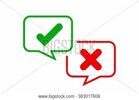 Check Mark Sign In Speech Bubble Square Isolated On White, Checkmark Yes Or No Vote In Speech Box Sy