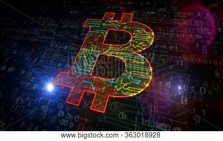 Bitcoin Mining. Cryptocurrency, Virtual Money And Blockchain Tachnology Production Line Abstract 3d