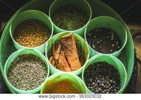 Spice Container Masala Box ( Anjarai Petti ) A Traditional Indian Spice Storage Container, Called A