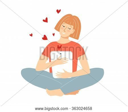 Pretty Woman Smiling Character Sit In Lotus Pose Holding Tablet Chatting, Dating Online, Like Hearts