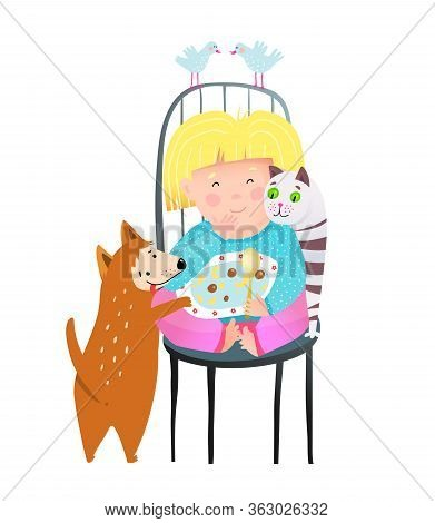 Little Girl Sharing Food With Cat Dog And Cat Friends. Cute Child Sit On Chair Pets And Birds Friend