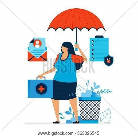 Vector Illustration Of Health Insurance. Health Insurance Agents That Offer Investment Services And