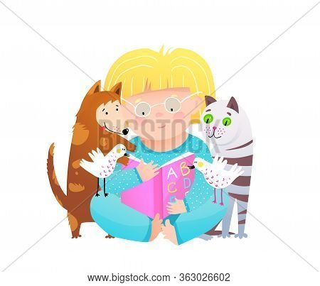 Little Girl Reading Abc Book To Cat And Dog Pets, Sitting On Floor Holding Open Abc Book. Funny Cute