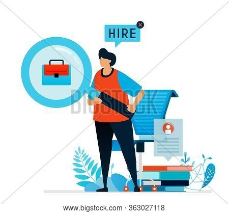 Vector Illustration Of Looking For Workers. Were Hiring Sign For Job Seekers, Open Vacancies For Job