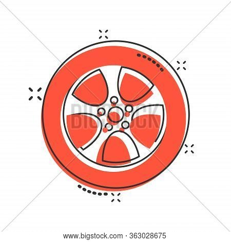Car Wheel Icon In Comic Style. Vehicle Part Cartoon Vector Illustration On White Isolated Background
