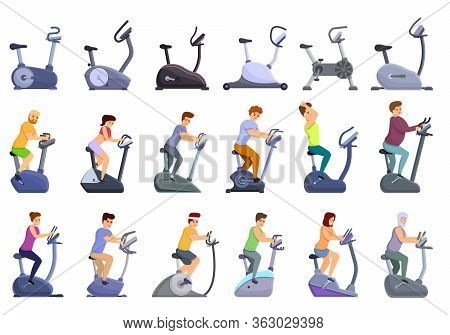 Exercise Bike Icons Set. Cartoon Set Of Exercise Bike Vector Icons For Web Design