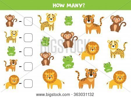 How Many Jungle Animals Are There. Count The Number Of Animals. Math Worksheet For Kids.