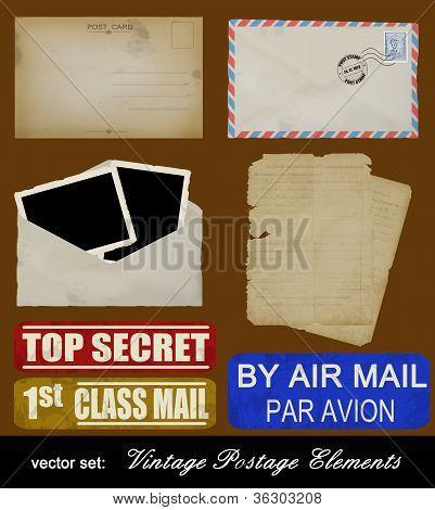 Scrapbooking Set Of Old Postage Design Elements
