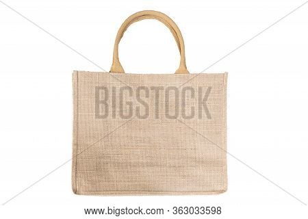 Shopping Bag Made Out Of Recycled Hessian Sack In Natural Brown Color Handles Isolated On White Back