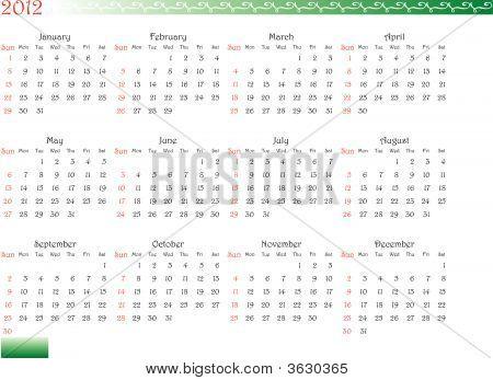 Decorated Calendar Of 2012