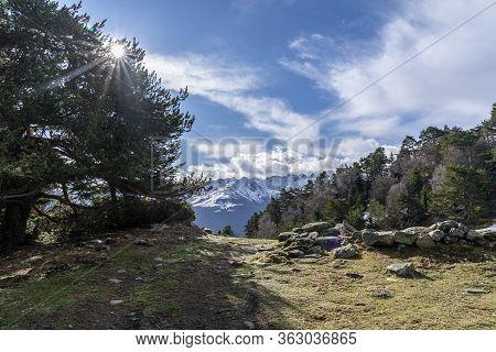 Bassa D´oles Lake With Reflection In Winter, Vielha, Aran Valley, Lleida, Catalonia, Spain.