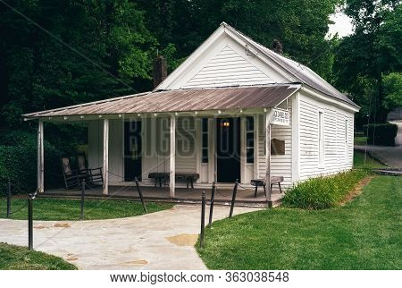 Lynchburg, Tennessee - July 21 2009: Jack Daniels Old Office Building In The Distillery. A White Woo