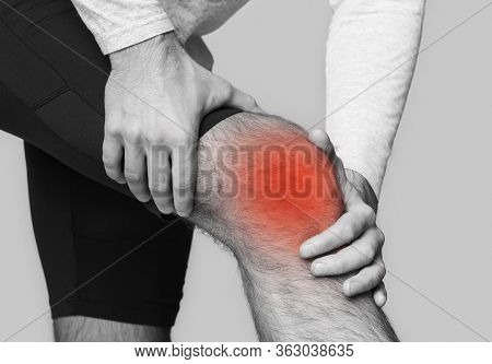 Man With Knee Pain, Inflamed Highlighted In Red