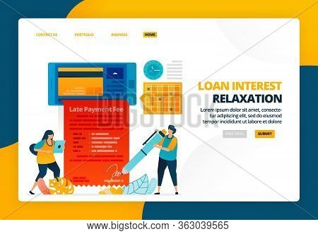 Cartoon Illustration Of Apply For A Credit Card Installment Payment Hold With Mobile. Late Payment R
