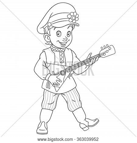 Coloring Page. Coloring Book Picture Of Cartoon Boy Playing Balalaika - National Russian Musical Ins