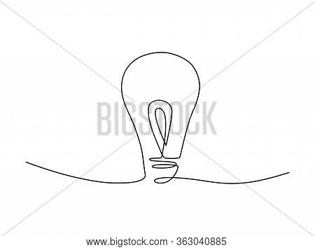 Continuous Lamp Line Drawing Stock Vector Illustration Isolated On White Background