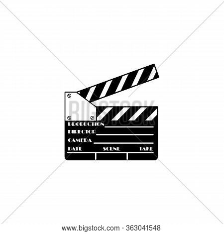 Movie Slate Icon In Black Simple Design On An Isolated White Background. Eps 10 Vector.
